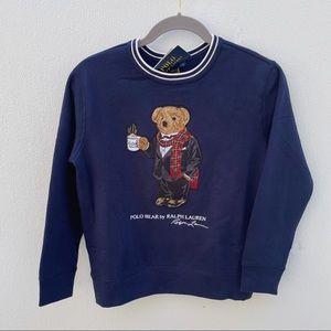 Polo Bear sweater Ralph Lauren small blue white